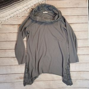 Cowl Neck Maurices Long Sleeve Shirt Grey/Green